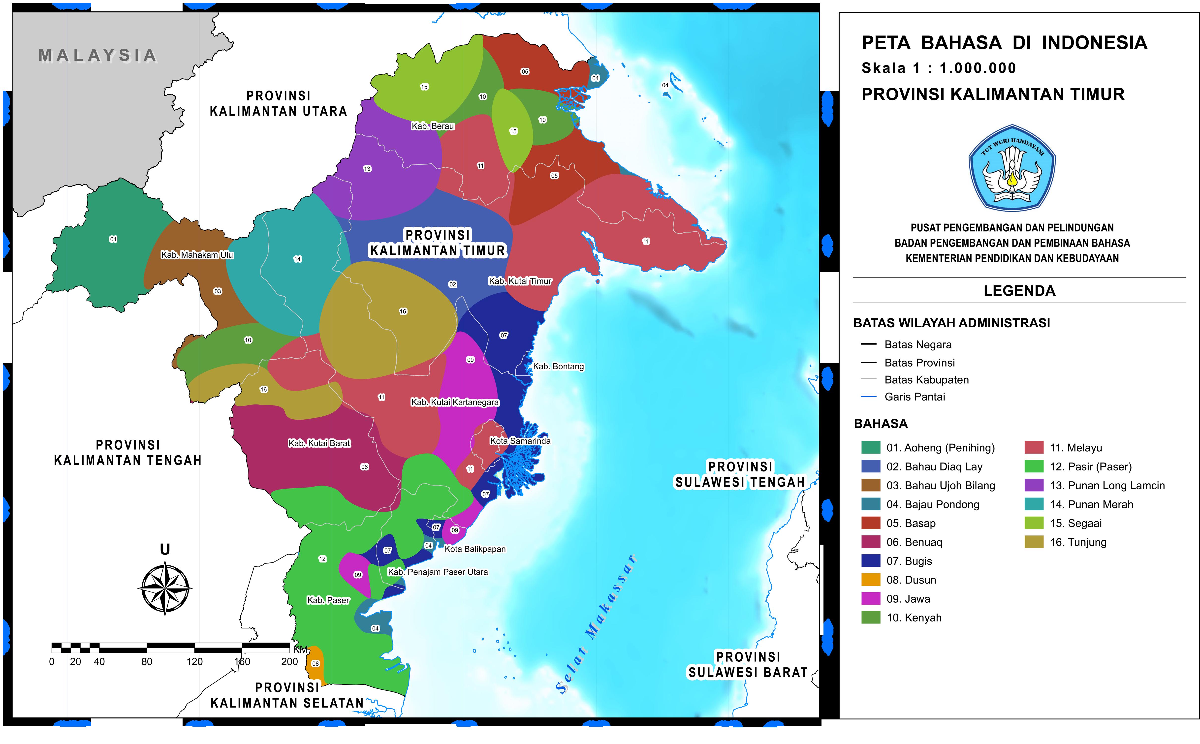 provinsi kalimantan timur peta bahasa provinsi kalimantan timur peta bahasa